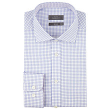 Buy John Lewis Grid Check Tailored Non-Iron XL Sleeve Shirt, Blue Online at johnlewis.com
