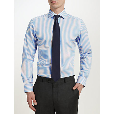 Buy John Lewis Non-Iron Oxford Stripe Long Sleeve Shirt, Blue/Pink Online at johnlewis.com