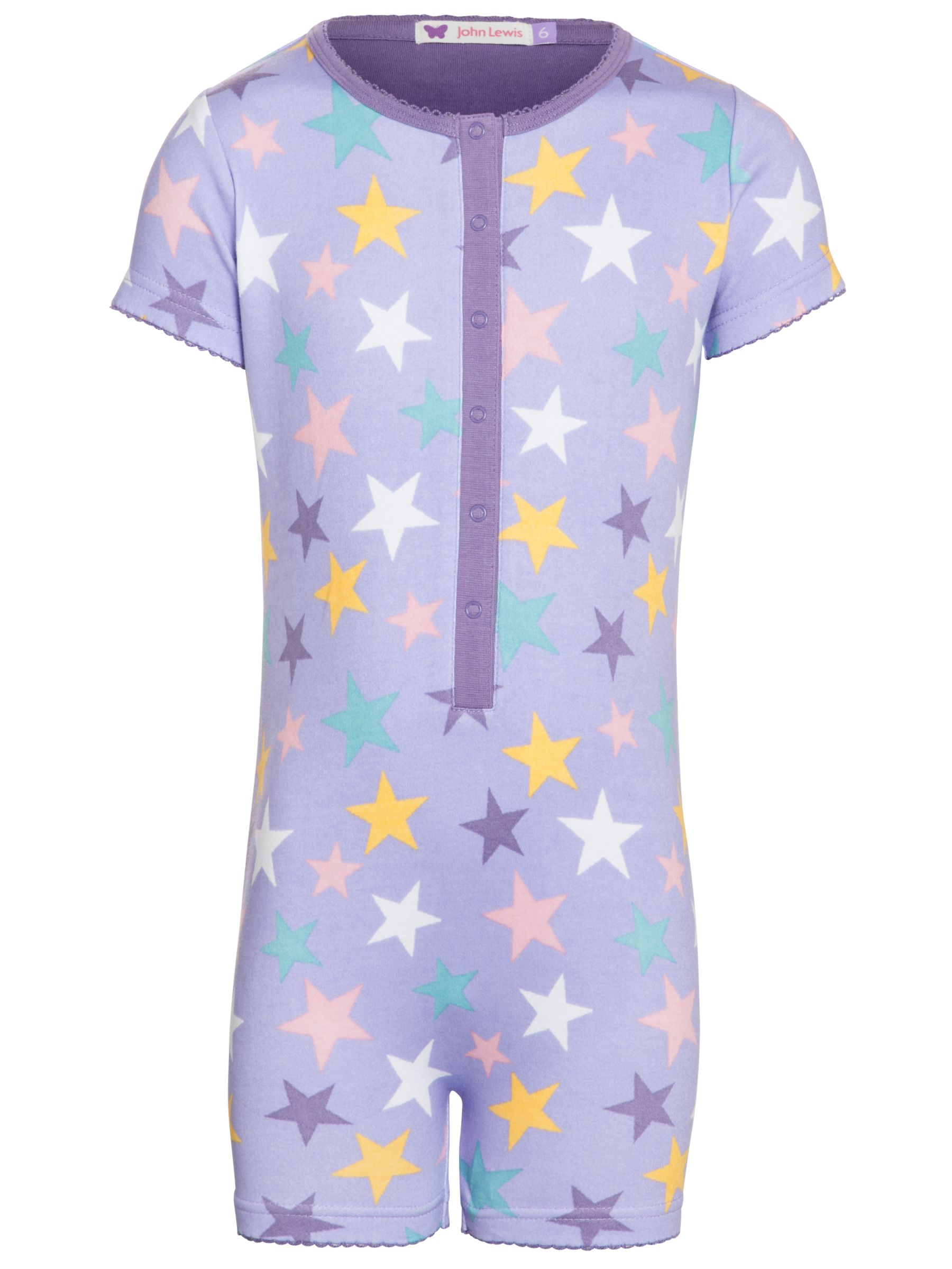 John Lewis Girl Star Print Onesie, Lilac/Multi