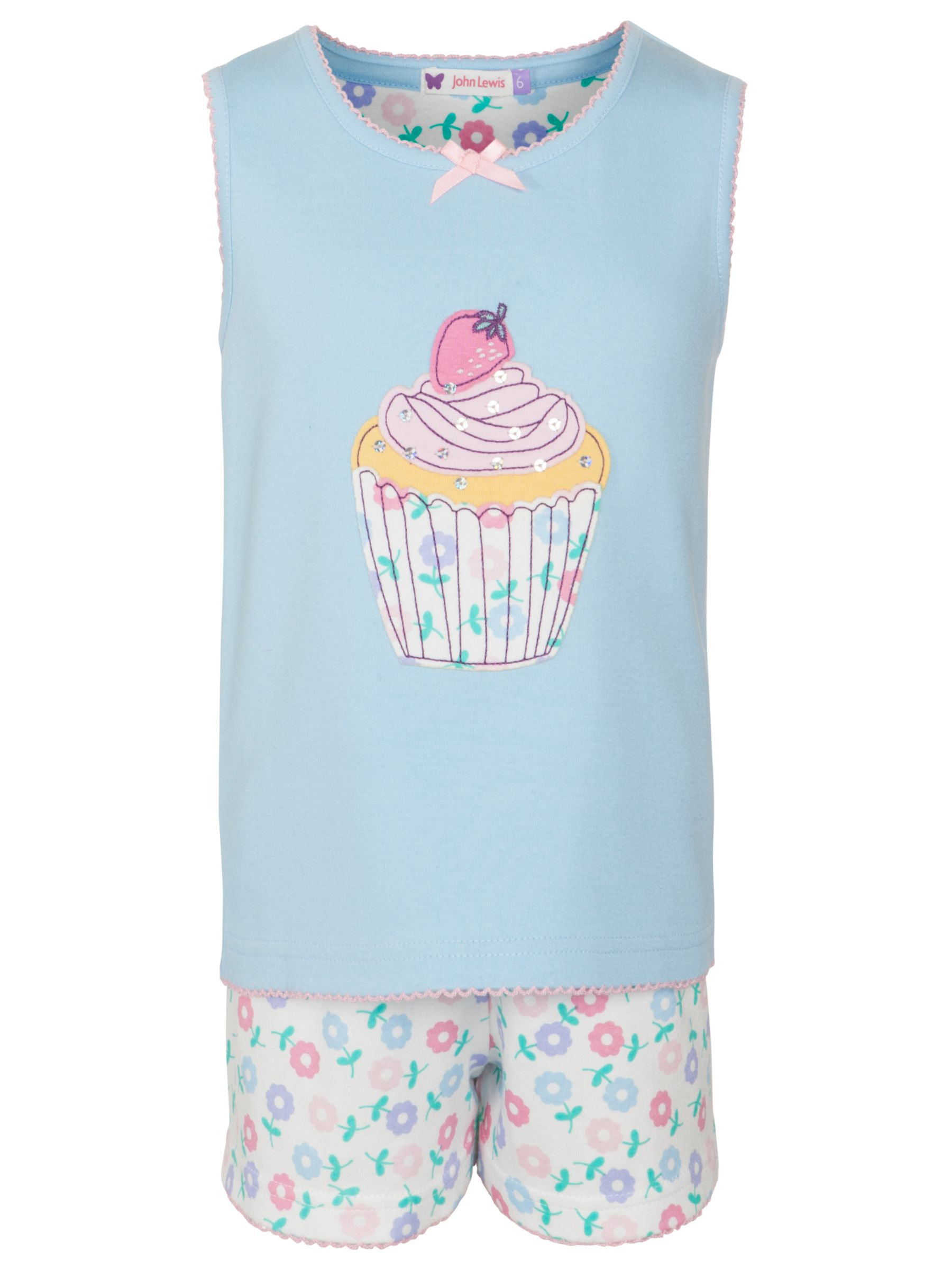 John Lewis Girl Cupcake Print Pyjamas, Light Blue