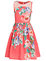 Derhy Kids Girls' Carmen Floral Print Dress, Coral