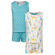 Buy John Lewis Girl Circus & Star Print Shortie Pyjamas, Pack of 2, Multi Online at johnlewis.com