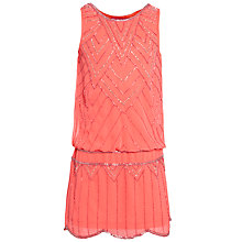Buy Derhy Kids Girls' Salome Beaded Drop Waist Dress, Coral Online at johnlewis.com