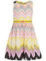 Derhy Kids Girls' Cerise Ikat Print Dress, Yellow/Pink
