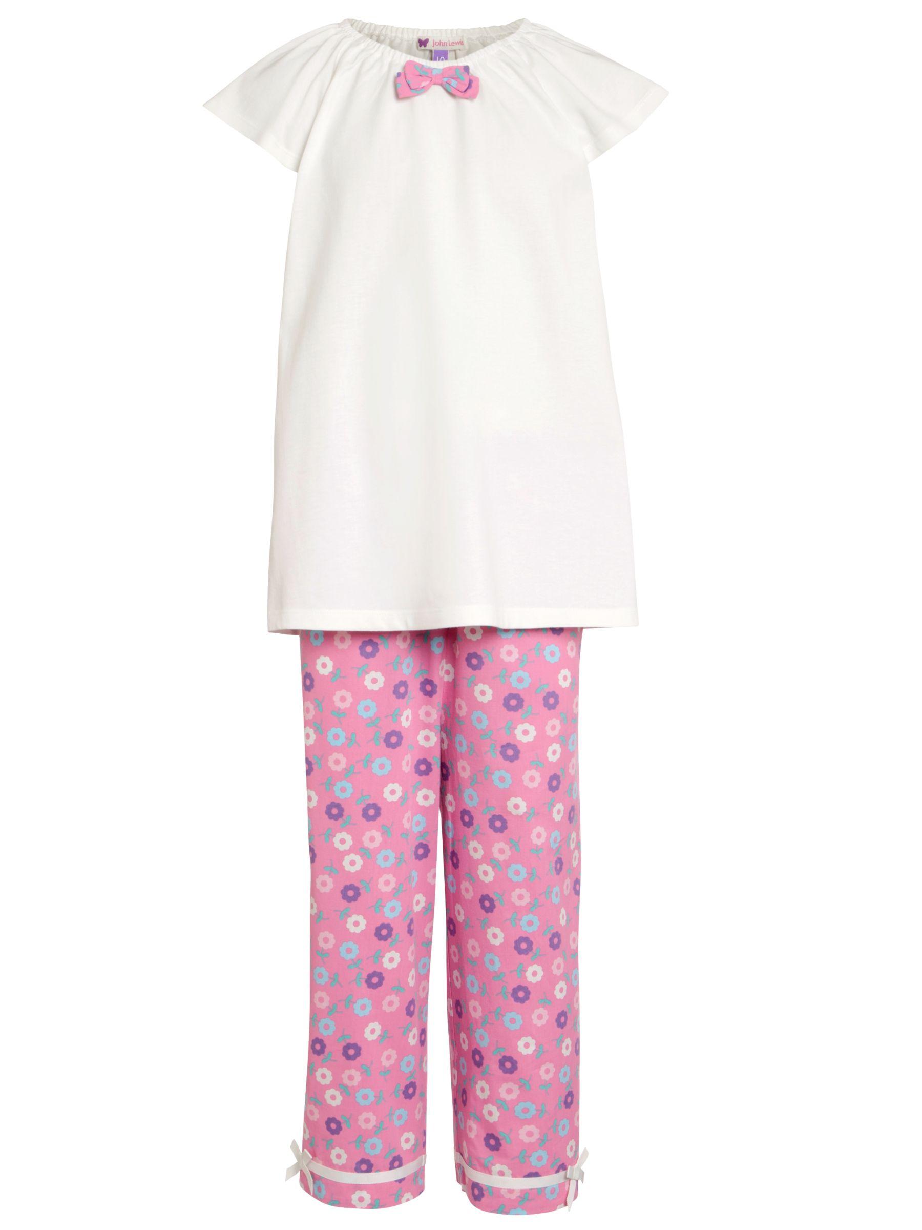 John Lewis Girl Floral Pyjamas, Pink/Cream