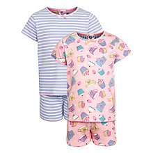 Buy John Lewis Girl Patterned Pyjamas, Pack of 2, Pink/Purple Online at johnlewis.com