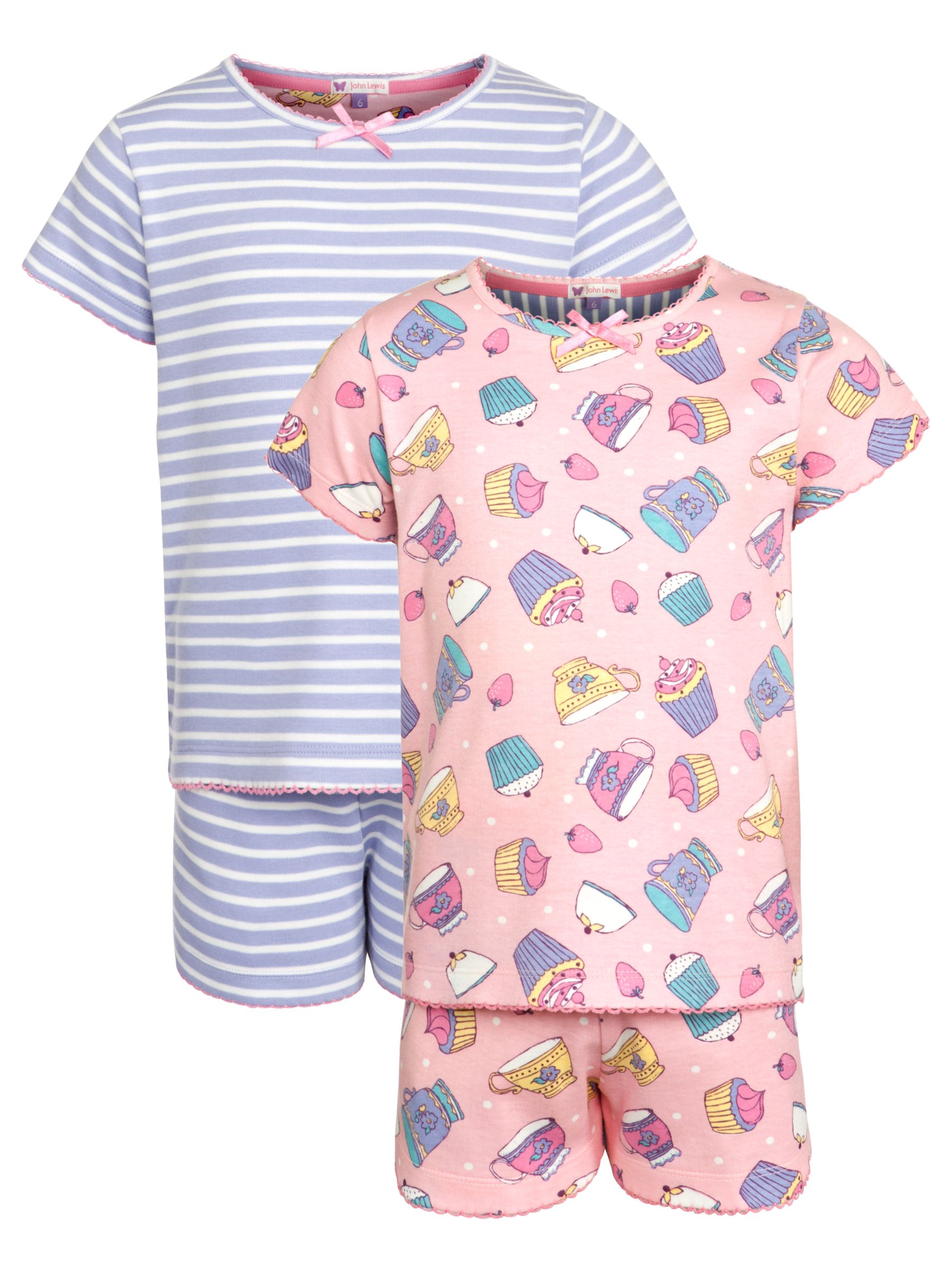 John Lewis Girl Patterned Pyjamas, Pack of 2, Pink/Purple
