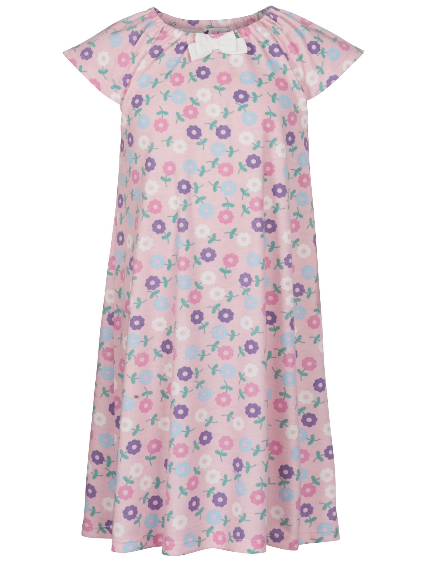 John Lewis Girl Floral Print Nightdress, Pink/Multi