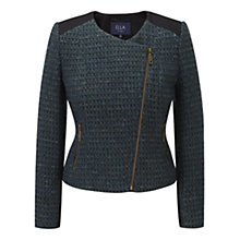 Buy Viyella Ella Tweed Biker Jacket, Emerald Online at johnlewis.com