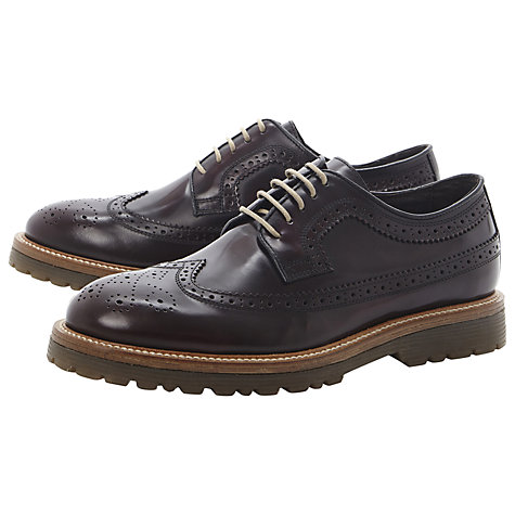 Buy Bertie Baron Leather Brogue Derby Shoes, Burgundy Online at johnlewis.com