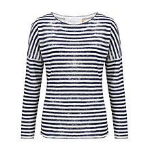 Buy Collection WEEKEND by John Lewis Dropped Shoulder Stripe Top, White/Navy Online at johnlewis.com