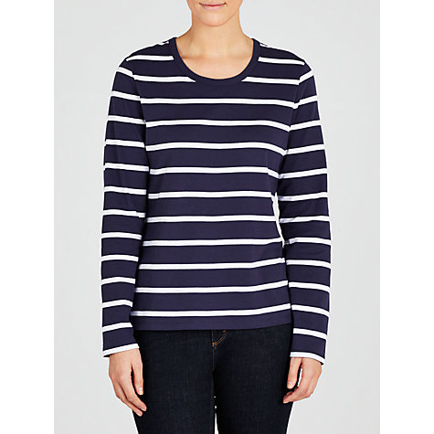 Buy Collection WEEKEND by John Lewis Breton Stripe Zip Top, Navy/White Online at johnlewis.com