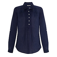 Buy John Lewis Linen Pintuck Shirt, Navy Online at johnlewis.com