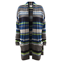 Buy East Large Stripe Longline Cardigan, Marine Online at johnlewis.com