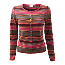 Buy East Paige Stripe Cardigan, Merlot Online at johnlewis.com
