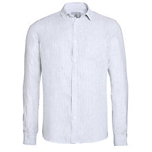 Buy John Lewis Linen Fine Stripe Long Sleeve Shirt, White Online at johnlewis.com