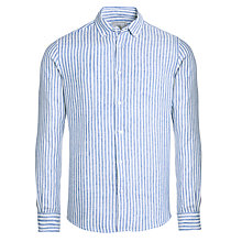Buy John Lewis Bengal Stripe Long Sleeve Linen Shirt, Cobalt Blue/White Online at johnlewis.com