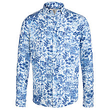 Buy John Lewis Printed Linen Shirt, Blue Online at johnlewis.com