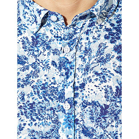 Buy John Lewis Printed Linen Long Sleeve Shirt, Blue Online at johnlewis.com