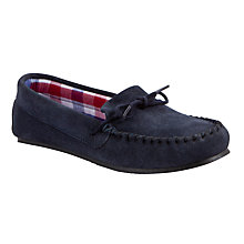 Buy John Lewis Suede Childrens' Moccasin Slippers, Navy Online at johnlewis.com