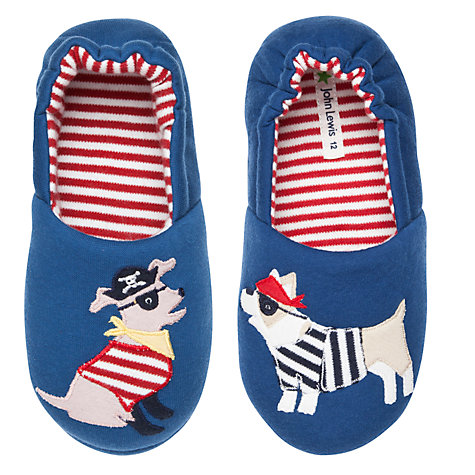 Buy John Lewis Boy Pirate Dog Slippers, Blue/Multi Online at johnlewis.com