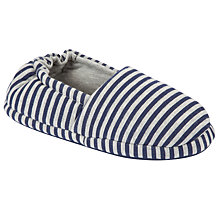Buy John Lewis Boy Stripe Slippers, Blue/Grey Online at johnlewis.com