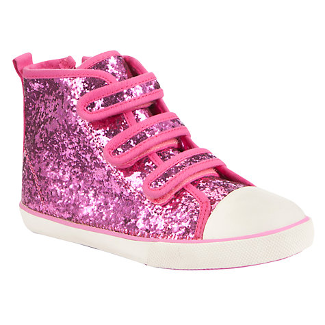 Buy John Lewis Girl Belinda Glitter Trainers, Pink Online at johnlewis.com