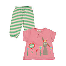 Buy Frugi Rabbit Top and Pull-Up Trousers Set, Pink/Green Online at johnlewis.com