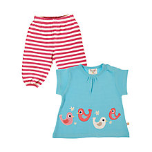 Buy Frugi Bird Top and Pull-Up Set, Blue/Pink Online at johnlewis.com