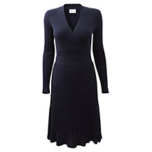 Buy East Pleated Merino Dress, Navy Online at johnlewis.com