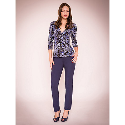 Buy East Paisley Jersey Wrap Top, Black Online at johnlewis.com