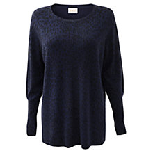 Buy East Animal Print Jumper, Deep Blue Online at johnlewis.com
