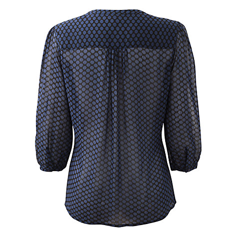 Buy East Betina Spot Blouse, Black Online at johnlewis.com