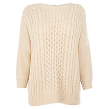 Buy Warehouse Slouch Cable Zip Jumper, Neutrals Online at johnlewis.com