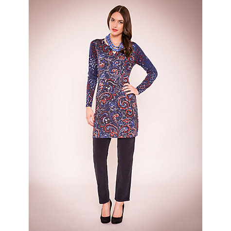 Buy East Paisley Spot Merino Tunic Dress, Deep Blue Online at johnlewis.com