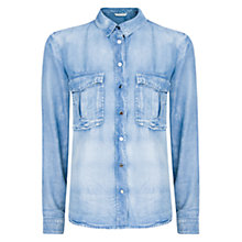 Buy Mango Tencel Shirt, Medium Blue Online at johnlewis.com
