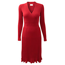 Buy East Pleated Merino Dress, Lipstick Red Online at johnlewis.com