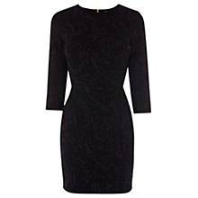 Buy Warehouse Blister Jacquard Bodycon Dress, Black Online at johnlewis.com