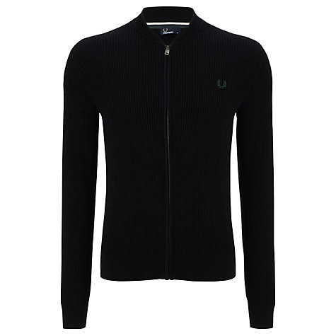 Buy Fred Perry Waffle Knit Cardigan, Navy Online at johnlewis.com