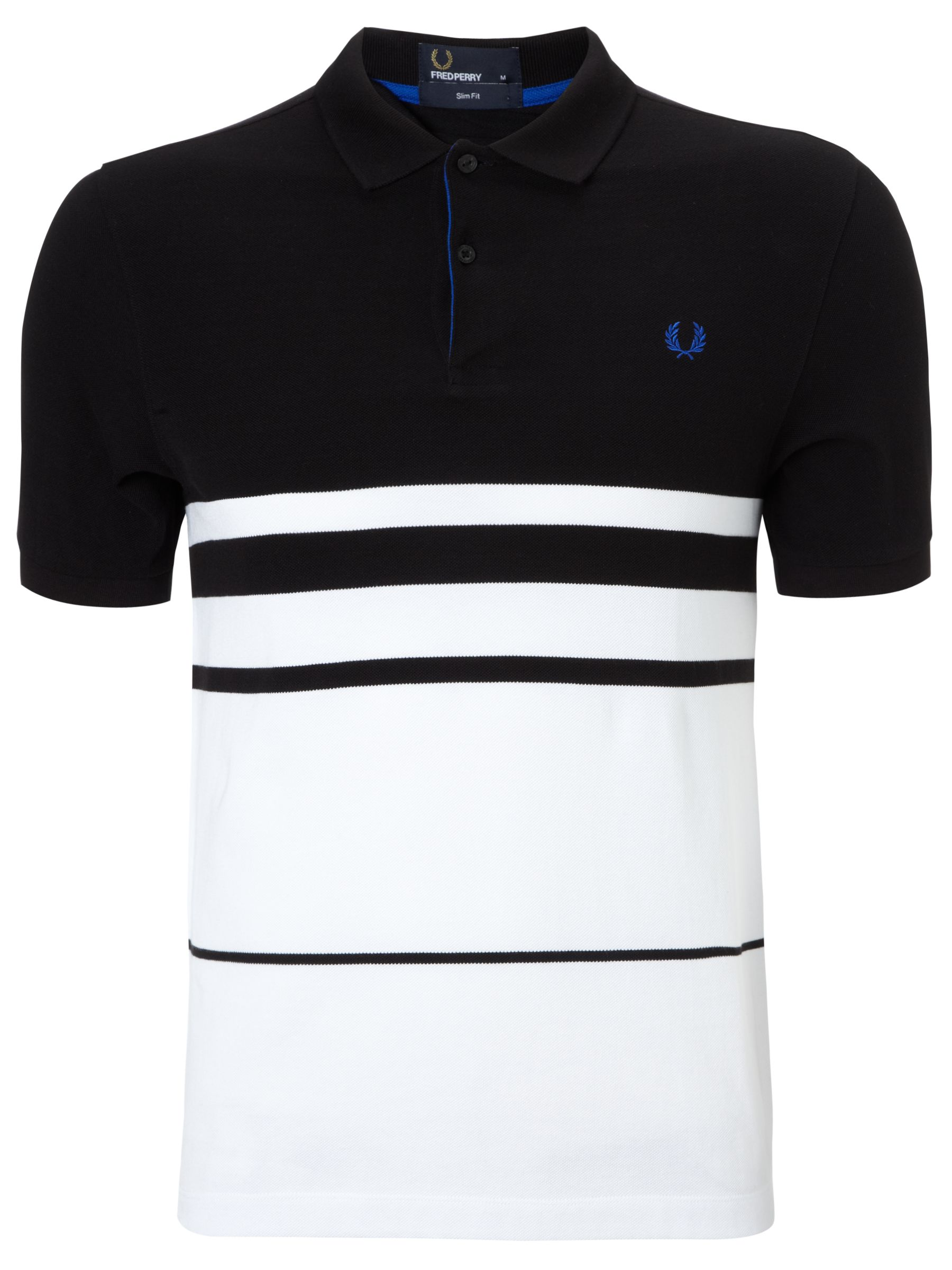 Fred Perry Block Stripe Polo Shirt BlackWhite