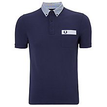 Buy Fred Perry Check Collar Polo Top, Carbon Blue Online at johnlewis.com