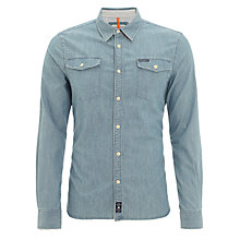 Buy Pepe Jeans Orleans Denim Polka Dot Shirt, Light Blue Online at johnlewis.com