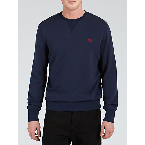 Buy Fred Perry Crew Neck Cotton Sweatshirt, Dark Carbon Online at johnlewis.com
