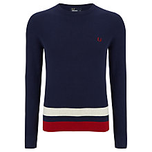 Buy Fred Perry Waffle Knit Striped Jumper, Carbon Blue Online at johnlewis.com