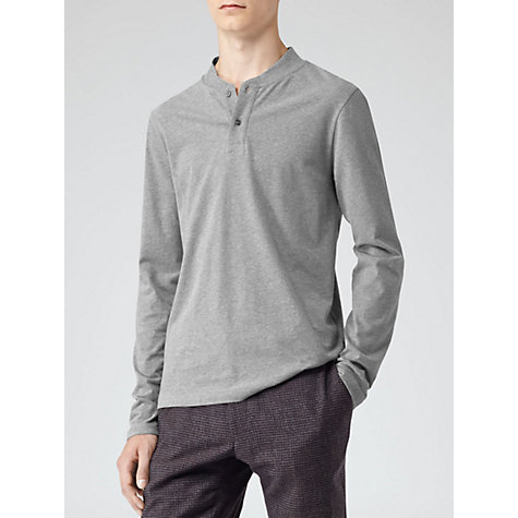 Buy Reiss Porto Long Sleeve Grandad Top, Grey Online at johnlewis.com