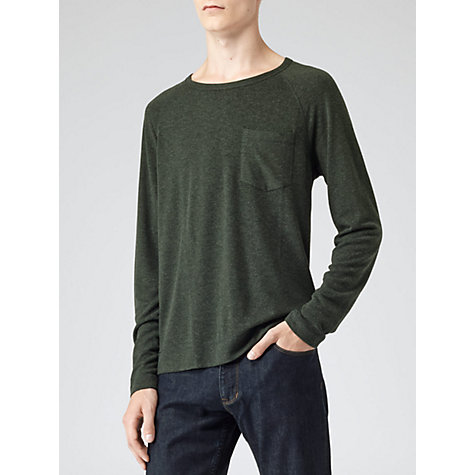 Buy Reiss Lille Wool Jersey Top, Green Online at johnlewis.com