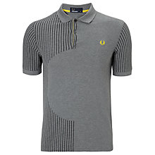 Buy Fred Perry Semi Circle Stripe Polo Top, Grey Marl Online at johnlewis.com