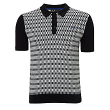 Buy Fred Perry Knitted Cotton Polo Top, Black/White Online at johnlewis.com