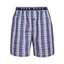 Buy BOSS Woven Check Shorts, Blue Online at johnlewis.com