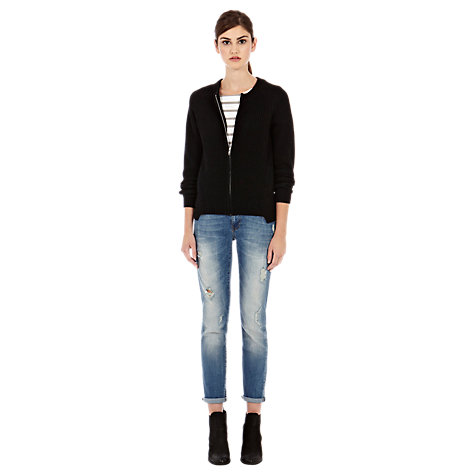 Buy Warehouse Fluffy Zip Cardigan, Black Online at johnlewis.com